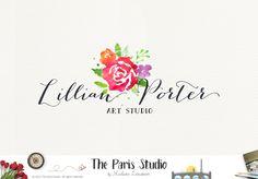 Watercolor Floral Logo Design - boutique logo, restaurant logo, creative business branding