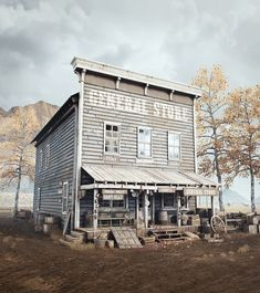 Old Western General Store, Sven Mrđen Old General Stores, Old Western Towns, Westerns, Old West Town, Angel Clouds, Wagon Trails, West Art, American Frontier, Native American History
