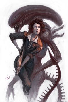Ripley and her xenomorph (family picture)