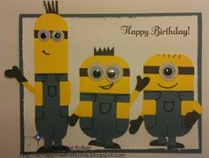 Despicable Me - Minions made from Stampin Up supplies. Details on blog
