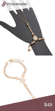 "Kendra Scott Carlin Rose Gold Hand Bracelet Dare to turn heads with the Carlin hand bracelet, with a fluid rose gold chain and elegant iridescent drusy details.  DETAILS • 14K Rose Gold Plated Over Brass • Size: 6.25""L with 4.88""L center chain, 1.5"" extender • Material: iridescent drusy* retail 95.00  New with tags and gift pouch! Kendra Scott Jewelry Bracelets"