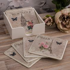 Butterflies and neutral shades. These coasters are just gorgeous. Decoupage Box, Decoupage Vintage, Wood Crafts, Diy Crafts, Pearl And Lace, French Country Decorating, Shabby Chic Homes, Shabby Chic Furniture, Cute Gifts