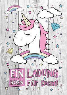 DIY Einladungskarten für deine Einhorn-Party #affiliate #geburtstag #unicorn #selbermachen #party