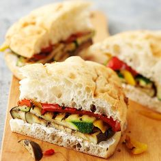 October 7, 2012    Grilled Vegetables on Focaccia. Add a light basil pesto to make it even better:)