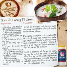 sopa de coco y té de limón