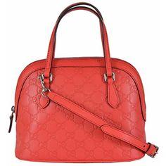 Gucci Women's GG Sporting Red Leather Convertible Crossbody Mini Dome Purse