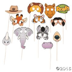 Add a wild touch to your snapshots with these Zoo Animal Photo Stick Props. Perfect for your little animal lover's birthday party, these photo booth props ...