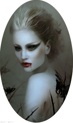 Artist Bente Schlick. Very cute, and I love the eye makeup. The blood is just a bonus.