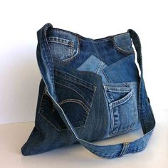 Shoulder Purse Recycled Denim Bag Upcycled Jean Handbag Eco Frindly Hobo School Blue