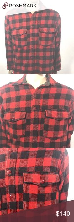 Vintage 40s 50s Woolrich Button Down Shirt Men's Vintage Late 40's Early 50's Woolrich 100% Wool Long Sleeve Button Down Shirt Size: Color: Red & Black Plaid  Good Pre-Owned Condition Only flaw is that there is a tear on the black material on the inside of the collar (See Last Picture)  2 Chest pockets with red button flaps Red Buttons  Style 93 WPL 6635 Woolrich Shirts Casual Button Down Shirts