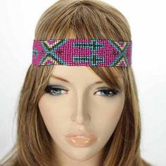 Cross Seed Bead Headband