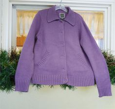 Eddie Bauer Collared Large Snap Cardigan Sweater M Dusty Lavender Purple Classic #EddieBauer #Cardigan