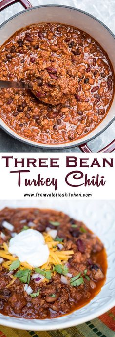 This Three Bean Turkey Chili is packed with lean ground turkey, three kinds of beans, and Mexican spices to satisfy even the heartiest of appetites!