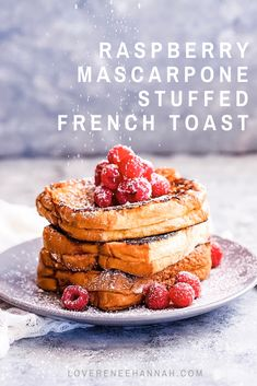 Buttery, soft brioche, tart raspberries, and creamy mascarpone make this French toast irresistible. #breakfast #breakfastrecipe #breakfastideas #recipes