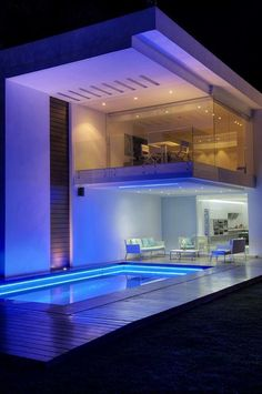Beautiful outdoor pool and lighting