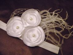 white satin singed flower headband with netting, feathers. Perfect for Christening, baptism    lexicouture.etsy.com