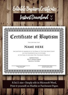Certificate Of Baptism Word Template Birth Certificate Template, Award Certificates, Award Template, Flyer Template, Baby Shower Templates, First Communion Gifts, Wedding Invitation Templates, Lettering