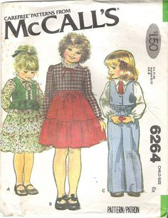 1970's Sewing Pattern  McCall's 6264 Child's by jennylouvintage