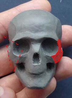 """Start with hardened gumpaste """"skull"""" then add fondant for sculpting. Polymer Clay Sculptures, Polymer Clay Dolls, Polymer Clay Projects, Sculpture Clay, Clay Crafts, Sculpting Tutorials, Clay Tutorials, Anatomy Sculpture, Toy Art"""