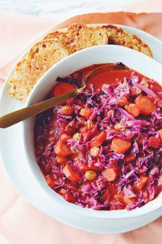This red cabbage soup recipe is sweet, sour, and super delicious. It's loaded with red cabbage, carrots, onions and some everyday pantry staples. Red Cabbage Soup, Sweet And Sour Cabbage, Cabbage Soup Recipes, Beer Cheese Bread Recipe, Seafood Recipes, Vegetarian Recipes, Smoked Mac And Cheese, Vegetable Stew, Irish Recipes