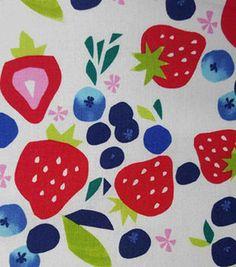 Koko Lee™ Cotton Fabric-Strawberries And Blueberries