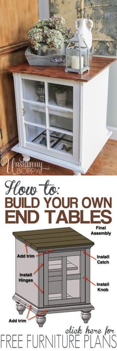 FREE PLAN: END TABLE FURNITURE  http://theownerbuildernetwork.co/bng8  Want an end table with character? Feeling handy? Then you might have to build one yourself.  Check out this post about how to DIY your own end tables. Great tutorial with step-by-step instructions of the furniture plans.  Could you use one of these in your living room?