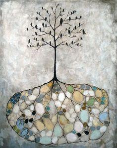 To show Jess--Rebecca Rebouche. Bird Island - 2010 - mixed media on canvas. Art Painting, Artist Inspiration, Tree Art, Illustration Art, Art, Canvas Art, Rebecca Rebouche, Altered Art, Bird Art