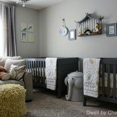 I like the light grey walls and dark grey cribs
