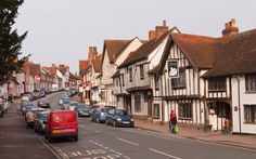 Lavenham, in Suffolk, UK  Lavenham, in Suffolk, may just be the prettiest town in England. It boasts more than 350 heritage houses and its high street is lined with the kind of bric-a-brac shops and teahouses (serving scones and clotted cream) that are on the endangered list throughout rural England—and all but extinct in glossier reaches, such as the Cotswolds and West Dorset.