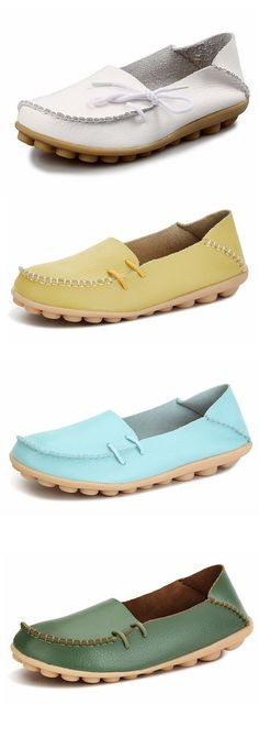 $16.56 Big Size Pu Pure Color Soft Sole Breathable Casual Lace Up Flat Shoes For Women,women's flats,women's shoes flats,flat shoes,summer shoes,spring shoes,summer fashion,colorful shoes