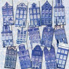 BLUE CANAL HOUSE - Digital Collage Mini Slides 1.5x3.5inch Vintage Dutch Delft Blue Tile Scrapbooking Supply Tag Magnet Instant Download