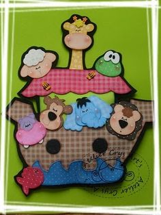 Decoração para Sala de Aula: Arca de Noé com moldes Foam Crafts, Diy Crafts, Noahs Ark Craft, Ideas Para Fiestas, Sewing Art, Paper Piecing, Puppets, Projects To Try, Quilts