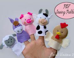 Digital Pattern: Zoo Friends 02 Felt Finger by FloralBlossom