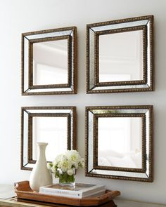 "Two ""Norlina"" Square Wall Mirrors at Horchow. - But, could I craft something......"