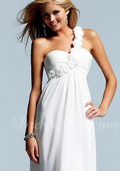 Empire Long A-line Applique One Shoulder Prom Dress