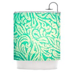 Teal Spring Paisley Shower Curtain from Kess Inhouse