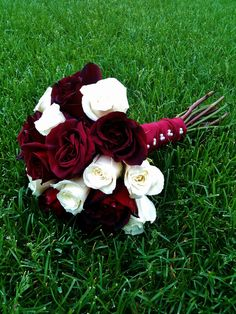 Hand Tied Red & White Rose Bridal Bouquet