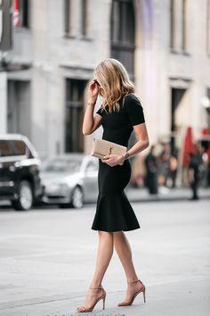 Fashion Jackson, Dallas Blogger, Fashion Blogger, Street Style, Nordstrom Little Black Dress, Milly Black Midi Dress, Milly Mermaid Hem Black Midi Dress, Steve Madden Stecy Nude Ankle Strap Heels, Saint Laurent Monogram Clutch