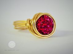 Fushia Purple Shamballa Wire Wraped Gold ring by TheJewelleryLoft, Druzy Ring, Heart Ring, Gold Rings, Loft, Wire, Jewellery, Purple, Trending Outfits, Unique Jewelry