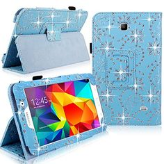 """Cellularvilla Leather Case For Samsung Galaxy Tab 4 7"""" Inch SM-T230 Tablet Baby Blue Glitter Pu Leather Slim Flip Folio Portfolio Swivel Stand Case Cover Protector + Stylus Touch Pen CellularVilla http://www.amazon.com/dp/B00LJOJ0Q6/ref=cm_sw_r_pi_dp_-CNEub1Q0FP94"""