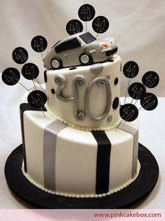 Porsche Topsy Turvy Birthday Cake | http://blog.pinkcakebox.com/porsche-topsy-turvy-birthday-cake-2009-01-12.htm