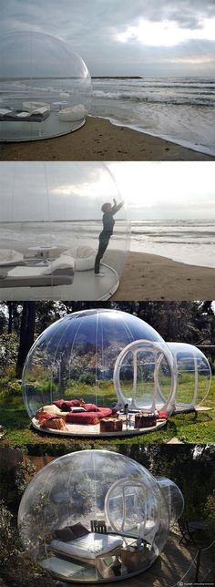 Love this ** This bubble tent lets you sleep under the stars!… Love this ** This bubble tent lets you sleep under the stars!…,My Home Love this ** This bubble tent lets you sleep. Camping Diy, Tent Camping, Camping Gadgets, Camping Gear, Beach Camping, Camping Solo, Glamping Tents, Outdoor Spaces, Outdoor Living