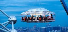 Dinner in the Sky is a Belgian based novelty restaurant which used a crane to hoist its diners, table, and waiting staff 150 feet into the air. Forbes magazine called it one of the world's ten most unusual restaurants. Dinner in the Sky has mobile services available in 15 nations, and has operated in various cities including Paris and Las Vegas.
