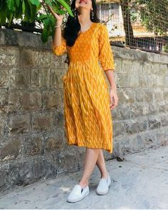 Mustard and white zigzag dress 2