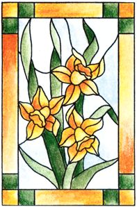 Daffodil Stained Glass Cling Stamp