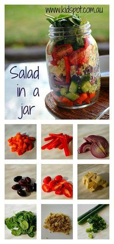 Salad In A Jar Recipe - Budget Astucieux,  ainsi vous pouvez préparer à l'avance plusieurs repas qui se conserveront plusieurs jours bien au frais.  Pour ma part, je préfère mettre la sauce à part, elle ne cuira pas les ingrédients.