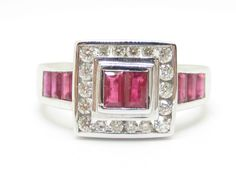 http://rubies.work/0223-ruby-rings/ Ruby Ring, with Diamonds 0.25ct. 18ct. White Gold Size N