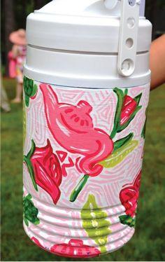 Delta Zeta Mug! Not a cooler - but good for a cooler idea. Delta Zeta Crafts, Sorority Crafts, Hand Painted Coolers, Gamma Phi Beta, Phi Mu, Alpha Phi, Theta, Kappa, Cooler Painting
