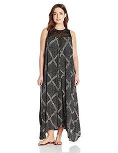 Lucky Brand Women's Plus-Size Crochet Yoke Dress, Black/Multi, 1X- #fashion #Apparel find more at lowpricebooks.co - #fashion