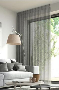 Window Treatment Ideas - Whether you're seeking curtains, tones or something in between, here are outstanding window treatments that are DIY-friendly. Ceiling Curtains, Voile Curtains, Curtains Living, Curtains With Blinds, Modern Curtains, Gray Curtains, Decorative Curtains, Mini Blinds, Wood Blinds